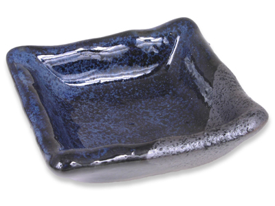 Blended Shades Matte Black and Shiny Blue Japanese Soy Sauce Dish