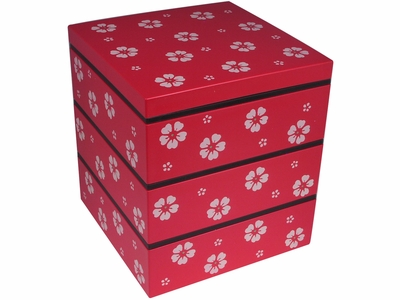 Blooming Cherry Blossoms Red Stackable Japanese Lacquer Box