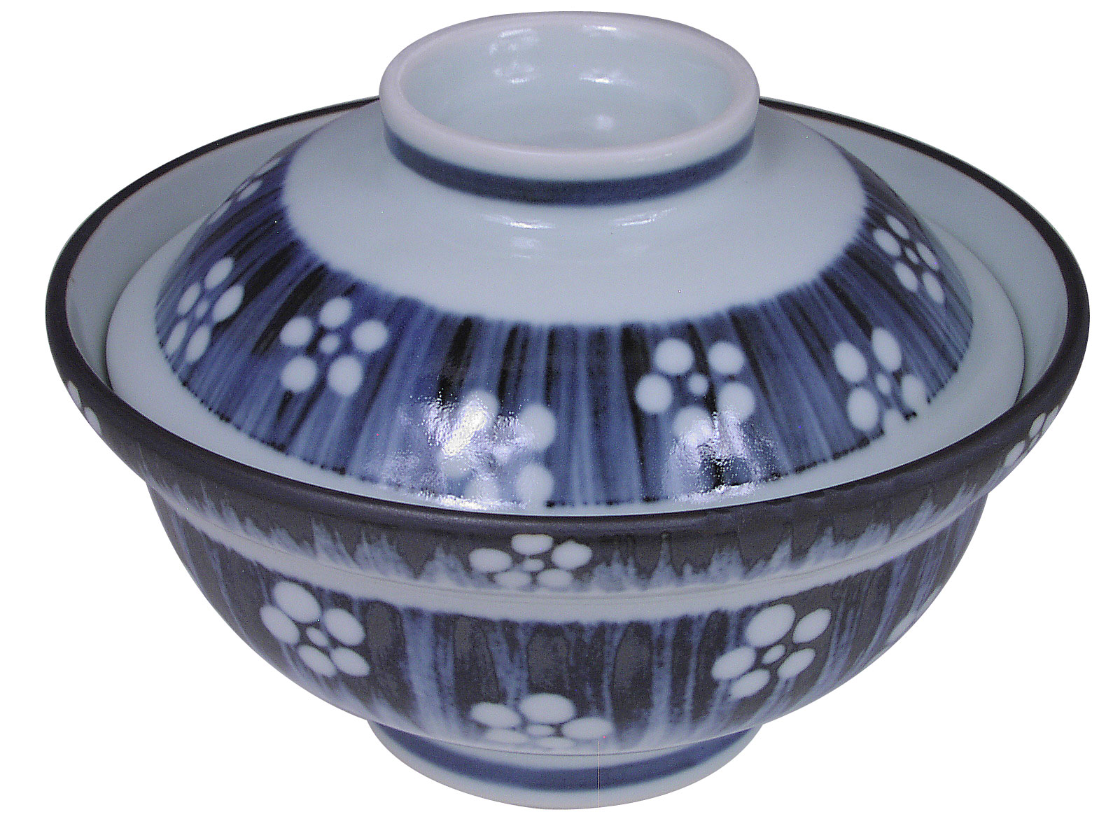Blue And White Cherry Blossom Donburi Bowl With Lid