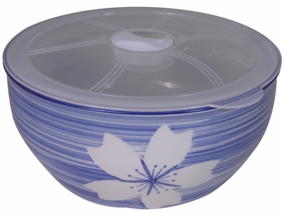 Blue and White Cherry Blossom Ramen Bowl with Lid