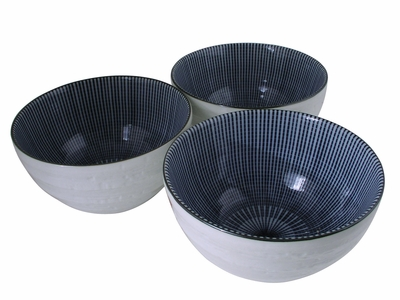 Blue and White Japanese Parasol Illusion Ceramic Serving Bowls Set of Three