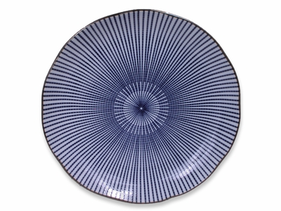 Blue and White Japanese Parasol Illusion Circular Asian Party Plate (LAST 7 PLATES)