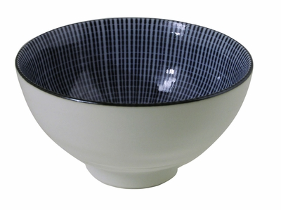 Blue and White Japanese Parasol Illusion Rice Bowl (LAST 6 BOWLS)