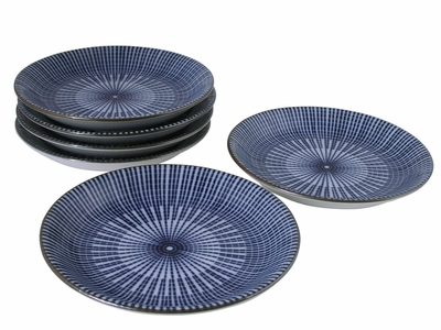 Blue and White Japanese Parasol Illusion Sushi Dipping Dishes Set for Six