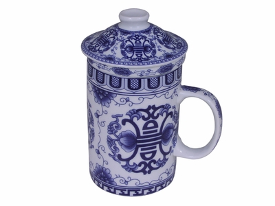 Blue and White Longevity Chinese Teacup with Infuser and Lid
