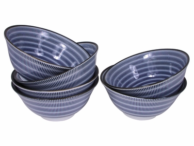 Blue and White Modern Spiral Japanese Bowl Set for Six