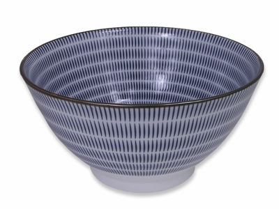 Blue and White Modern Spiral Japanese Noodle Bowl