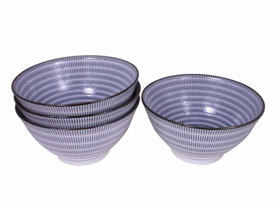 Blue and White Modern Spiral Japanese Noodle Bowls Set for Four
