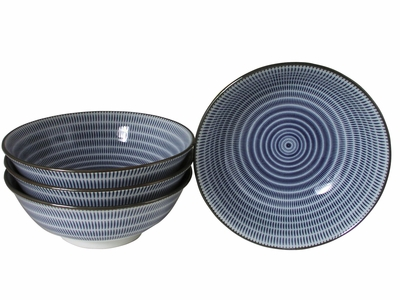 Blue and White Modern Spiral Japanese Ramen Bowls Set of Four