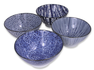 Blue and White Natural Beauty Japanese Bowl Set of Four