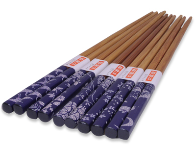 Blue and White Natural Beauty Wooden Chopstick Set of Five