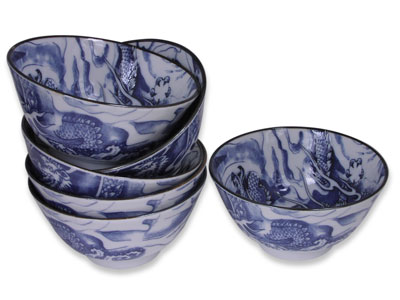 Blue and White Oriental Dragon Japanese Rice Bowl Set of Six