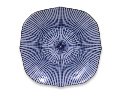 Blue and White Parasol Illusion Japanese Appetizer Plate (LAST 5 PLATES)