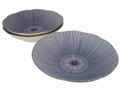 Blue and White Parasol Illusion Shallow Dinnerware Serving Bowl Set for Three