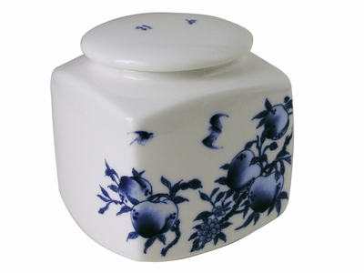 Blue and White Peach Branch Porcelain Chinese Tea Canister