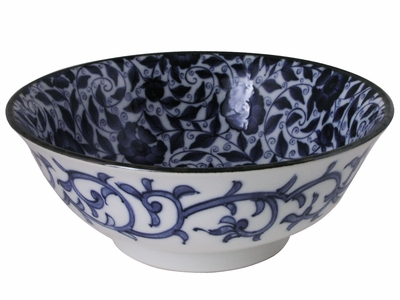 Blue and White Swirling Rose Vines Chinese Noodle Bowl