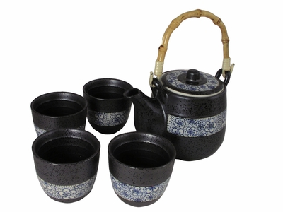 Blue Cherry Blossom and Metallic Alloy Teapot and Cup Set for Four