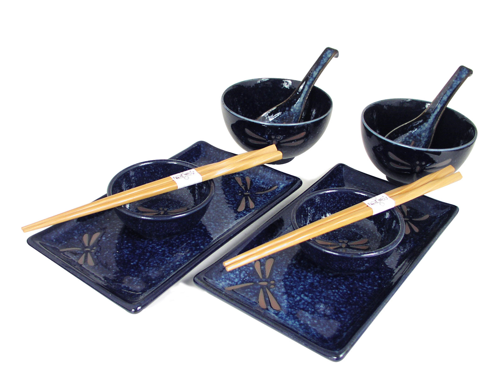sc 1 st  Mrs. Linu0027s Kitchen & Blue Dragonfly Collection Sushi Dinnerware Made In Japan Set for Two