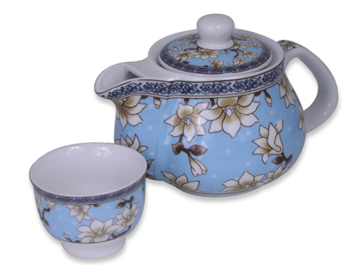 Blue Magnolia Chinese Teapot and Teacup Set for One