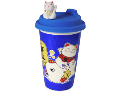 Blue Maneki Neko Travelling Japanese Cat Tea Cup with Lid