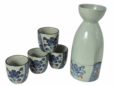 Blue Plum Blossom on Off White Traditional Sake Set for Four