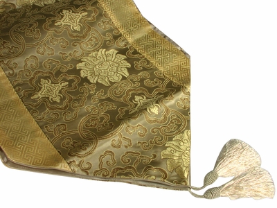 Bronze and Gold Lotus Traditional Chinese Decorative Table Runner