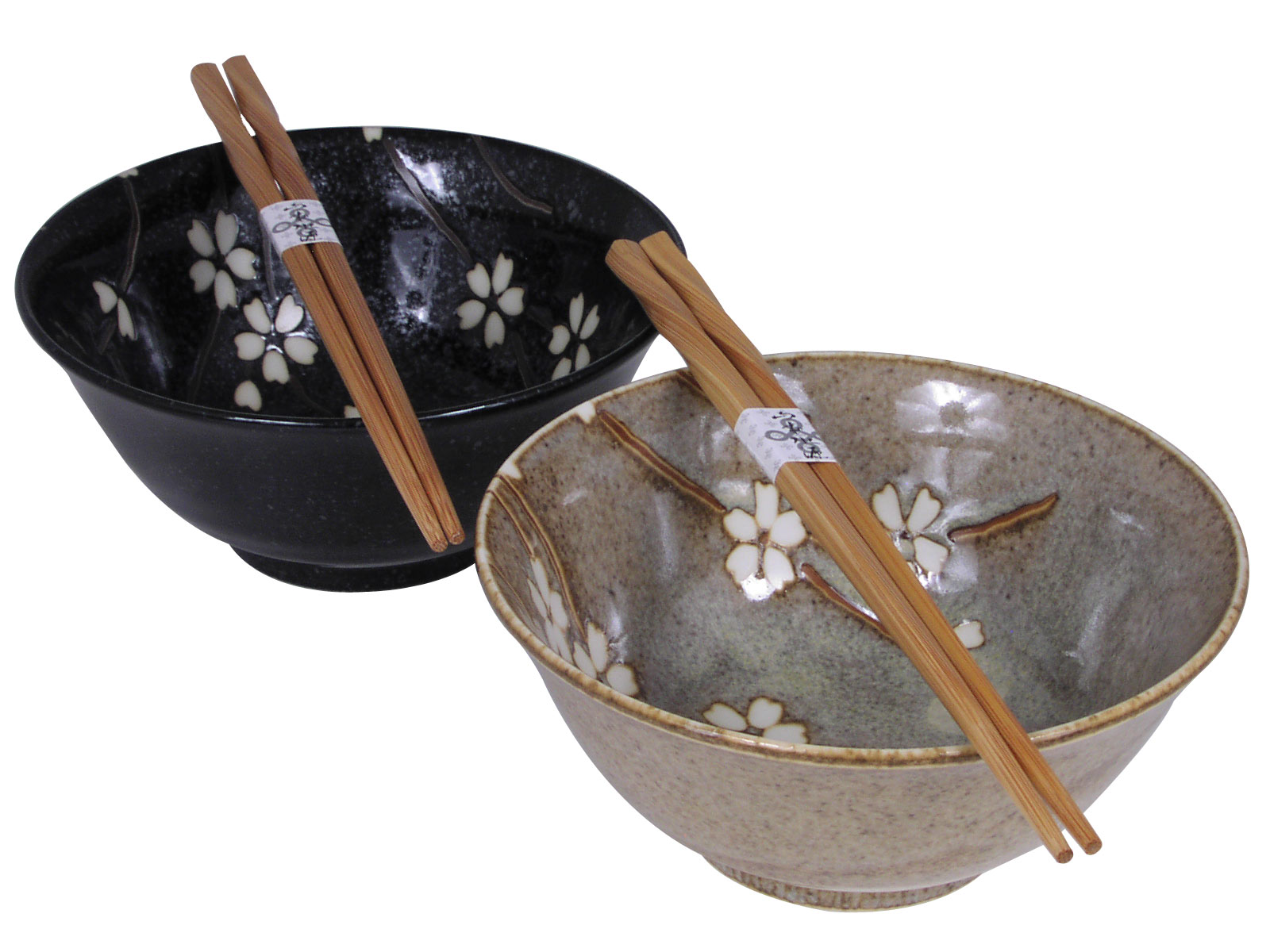Brown And Black Cherry Blossom Japanese Rice Bowl Set For Two