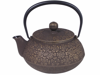 Brown and Bronze Cherry Blossom Tipped Iwachu Tetsubin Teapot