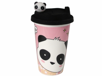 Charming Black White and Pink Travelling Panda Coffee Cup