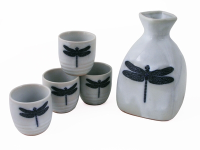 Charming Navy Blue Dragonfly on White Japanese Saki Set for Four