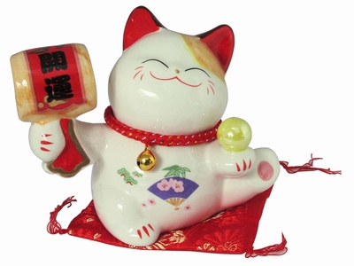 Charming Seated Welcoming Fortune Chinese Lucky Cat Coin Bank