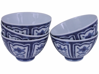 Charming Whimsical Hibiscus White and Blue Porcelain Japanese Bowl Set for Five