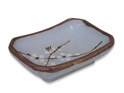 Cherry Blossom Blue Rectangular Soy Sauce Dish
