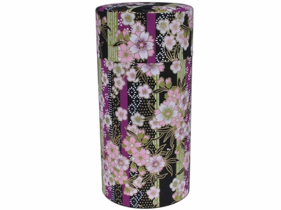 Cherry Blossom Bouquet Black Washi Paper Japanese Tea Tin