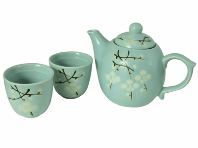 Cherry Blossom Collection Chinese Teapot and Cups Set for Two