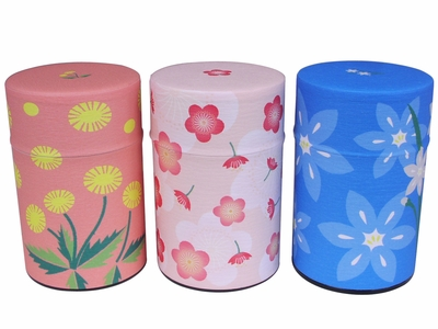 Cherry Blossom, Dandelions, and Lilies Spring Flowers Japanese Washi Tea Tin Set of Three