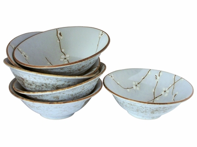 Cherry Blossom On Blue Shallow Japanese Ceramic Bowls Set for Six