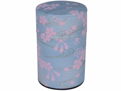 Cherry Blossom Petals on a Windy River Japanese Tea Canister