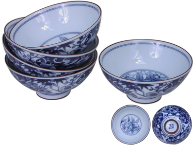 Cherry Blossom Rice Bowl Set For Five