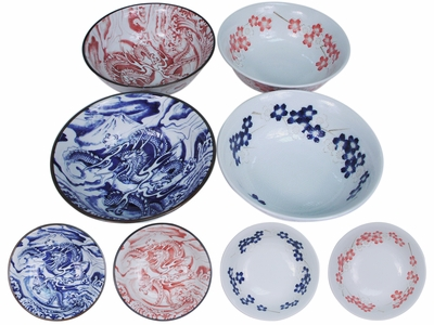 Cherry Blossoms and Dragons Japanese Noodle Bowl Set for Four