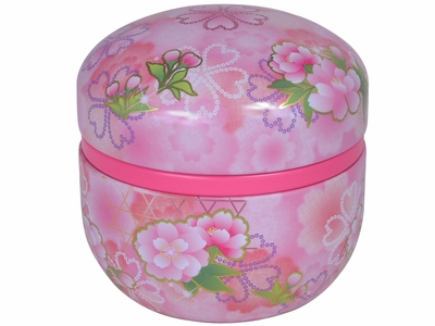 Cherry Blossoms and Peonies Sparkling Pink Japanese Tea Container