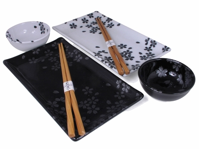 Classic Black and White Cherry Blossom Sushi Gift Set for Two