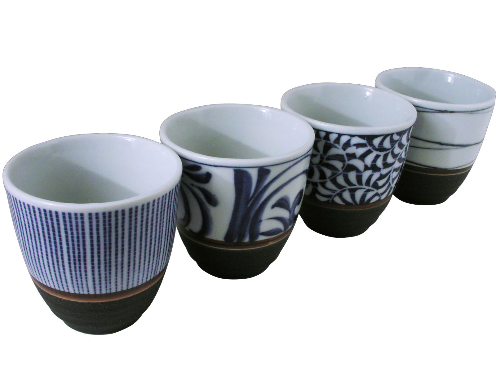 Classic Lines Japanese Asian Ceramic Tea Cups Set Of Four
