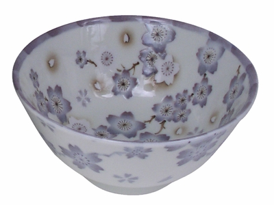 Classic Rustic Lilac and Cream Cherry blossoms Porcelain Japanese Rice Bowl