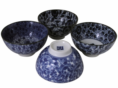 Collector's Karakusa White and Blue Porcelain Rice Bowls Set for Four