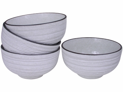Contemporary Brown on White Ceramic Bowl Set for Four