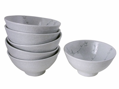 Minimalist White Cherry Blossom Collection Asian Noodle Bowl Set for Six