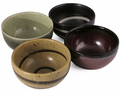 Contemporary Elements Japanese Tea Cups Set for Four