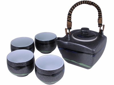 Contemporary Metallic Black Abstract River Japanese Tea Pot Set for Four