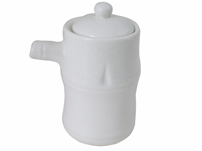 Contemporary White Ceramic Soy Sauce Dispenser